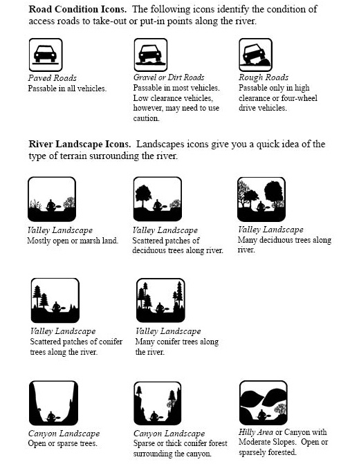 Symbols And Icons Used In The Idaho Paddling Website