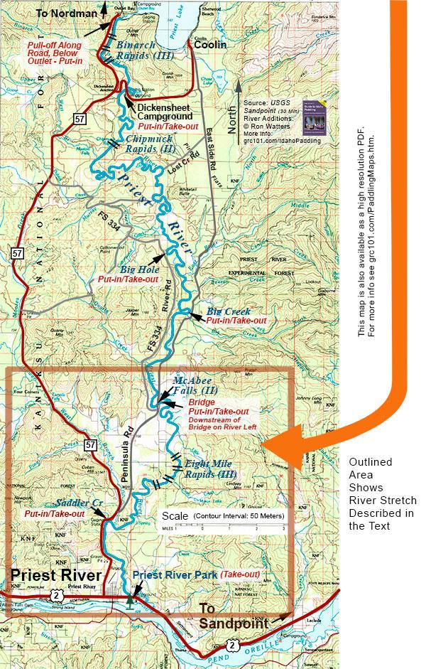 priest river idaho map Priest River Paddling Info Mcabee To Priest River Park priest river idaho map